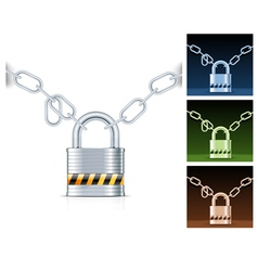 Metal chain and padlock isolated on white vector