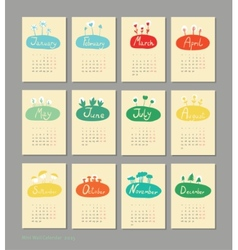 Mini cute calendar 2015 seasons vector image