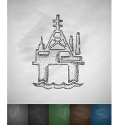 Oil derrick in sea icon vector