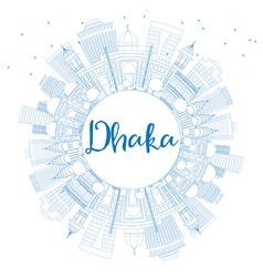 Outline Dhaka Skyline with Blue Buildings vector image