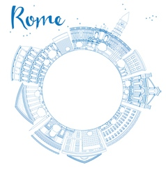 Outline Rome skyline with blue landmarks vector image