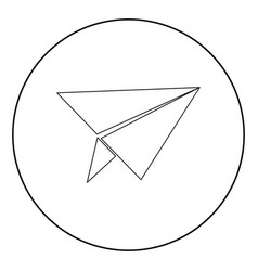 paper airplane icon black color in circle vector image