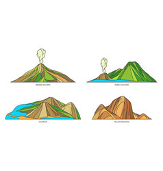 Papua new guinea nature landmarks travel volcano vector