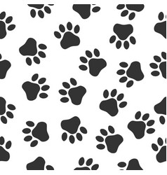 paws print seamless pattern simple monochrome vector image
