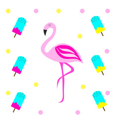 Pink flamingo with ice cream vector