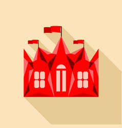 Red ancient castle palace icon flat style vector