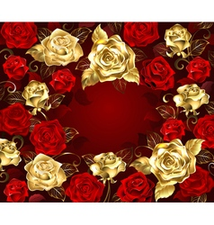 Red and Gold Roses vector