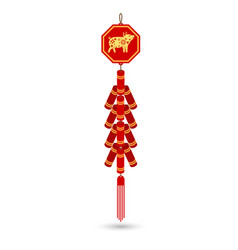 red chinese firecracker flat icon vector image