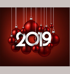 red festive 2019 new year card with christmas vector image