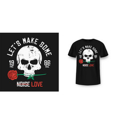 rock and roll t-shirt design skull is biting and vector image