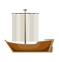 sailboat the boat sails from the wind water vector image