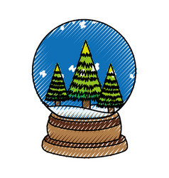 scribble christmas glass snow ball vector image