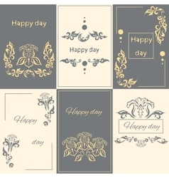 Set floral arabesque ornament greeting card vector image