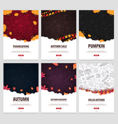 set of autumn backgrounds with leaves and pumpkins vector image
