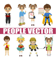 Set of diverse kids vector