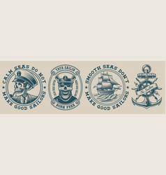 set on marine theme vector image