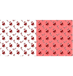 Set patterns candy canes with red bow vector