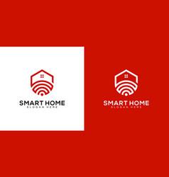 Smart home tech logo with line art style logo vector