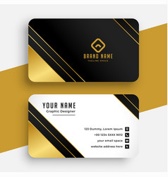 Stylish golden premium business card design vector
