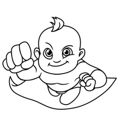 super baby line art vector image