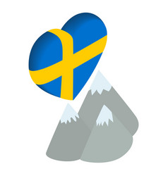 Sweden moutain icon isometric style vector