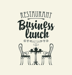 Template business lunch menu with a table for two vector