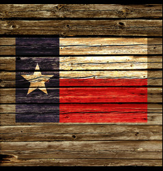 Texas tx state flag on rustic old wood wall vector