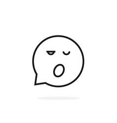 Thin line sleepy emoji speech bubble logo vector