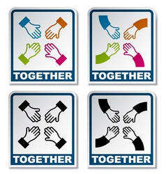 together aiming hands sticker vector image