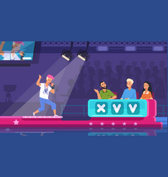 Tv talent show cartoon song contest with lighted vector