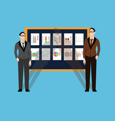 two young businessmen board with financial charts vector image