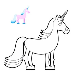 Unicorn coloring book fantastic animal in linear vector