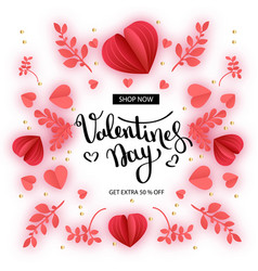 valentine s day sale offer banner template red vector image