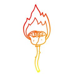 Warm gradient line drawing cartoon flaming rose vector