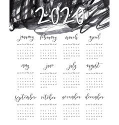 Watercolor ink calendar template 2020 year vector
