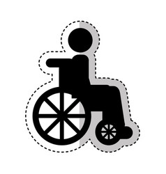 Wheelchair with patient icon vector