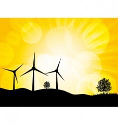 wind turbine landscape vector image