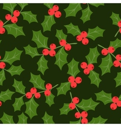 Winter seamless pattern with stylized holly leaves vector image