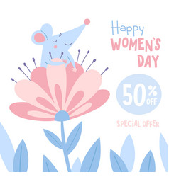 women39s day sale banner with rat vector image