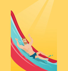 young caucasian man riding down a waterslide vector image
