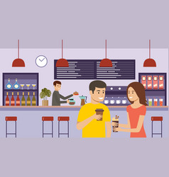 young woman with coffee people in a cafe lunch vector image