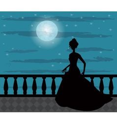 silhouette of a woman in the night vector image vector image
