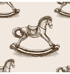 Vintage rocking horse sketch seamless vector