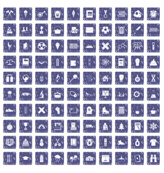 100 school years icons set grunge sapphire vector image vector image