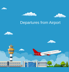 airplane takes off from the airport vector image