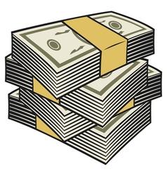 Big stack of money vector image vector image