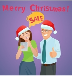 Christmas sales e-commerce concept vector image vector image