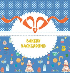 Funny background for the bakery with pattern vector image