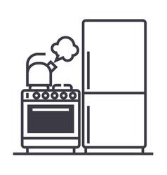 kitchenrefrigerator stove kettle line vector image