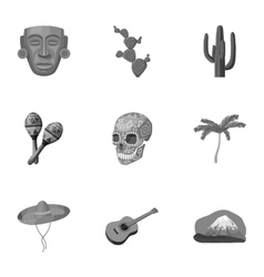 Mexico country set icons in monochrome style Big vector image vector image